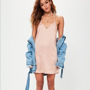 NWT Missguided Nude Silky Pink T Bar Slip Dress
